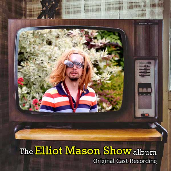 Musical comedian Elliot Mason wearing googly eyes on an old tube television