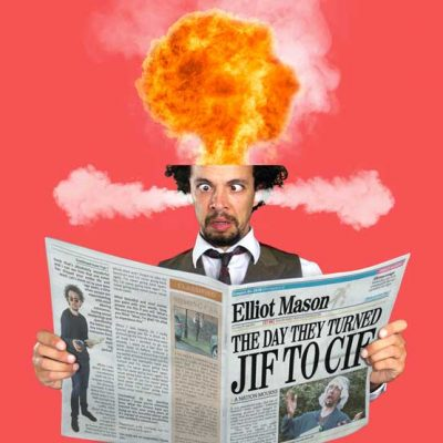 Musical comedian head exploding while reading a newspaper article