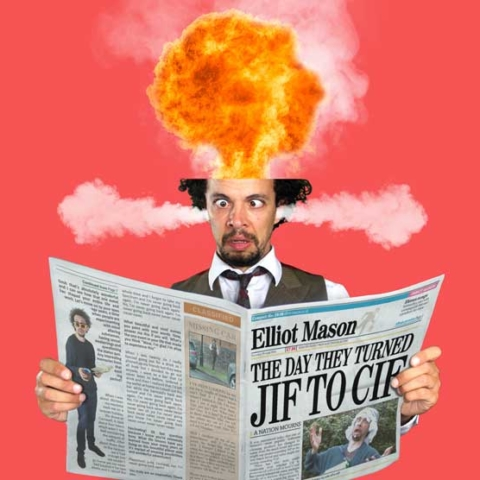 Musical comedian's head exploding while reading a newspaper