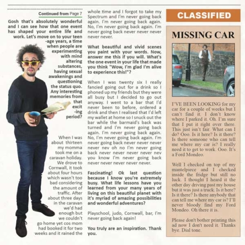 Fake newspaper with an article about comedian Elliot Mason