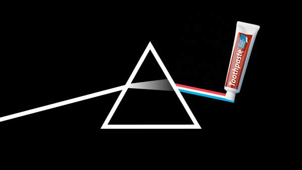 Dark side of the moon Pink Floyd album cover with added toothpaste by Justin Mason
