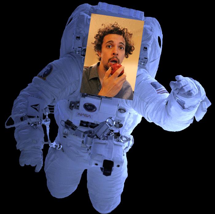 Musical comedian Elliot Mason as an astronaut eating an apple