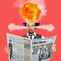 A man's head explodes whilst reading the news that jif has changed it's name to cif